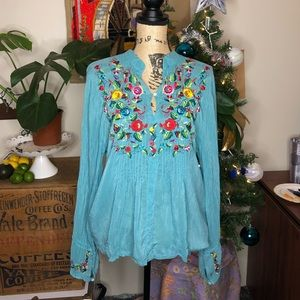 Johnny Was Teal Embroidered Top